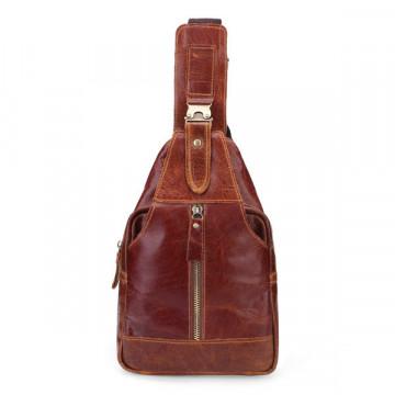Genuine Leather Bag Men Cowhide Chest Messenger Crossbody Bag