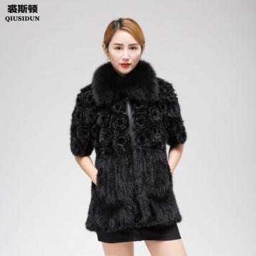 QIUSIDUN Mink Knitting Fur Coat Woman Winter warm Real Fur Coat Natural  Fox Fur Collar Fashion Slim Fit Garment Large Size 6XL